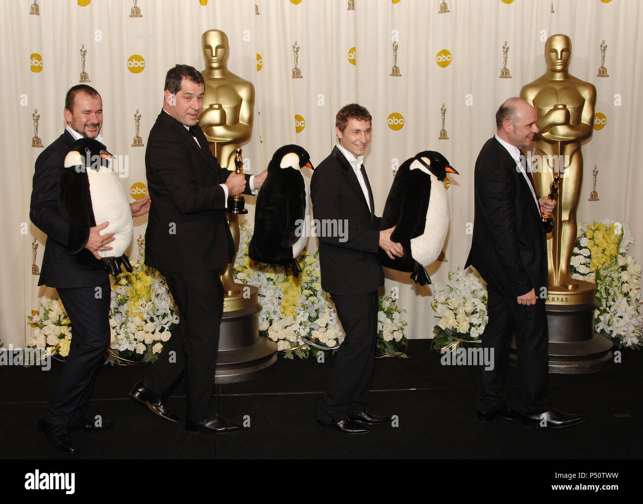 Best Documentary Winners March Of The Penguins In Press Room At 78th