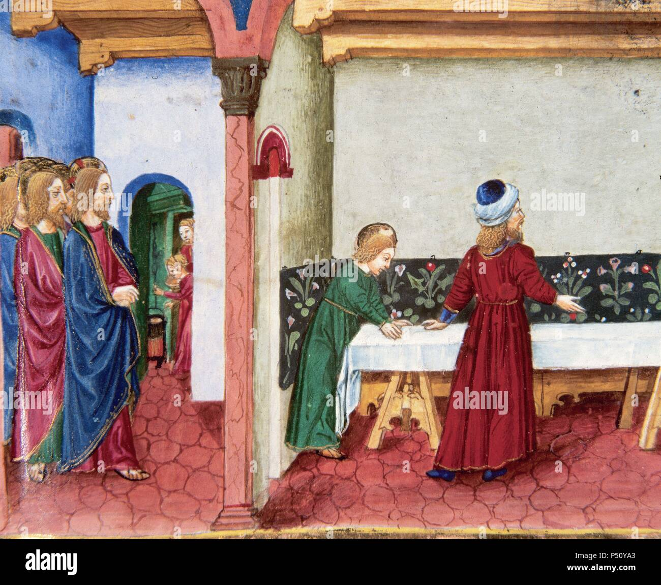 The disciples in the cenacle, prepared by order of Jesus. Codex of Predis (1476). Royal Library. Turin. Italy. - Stock Image
