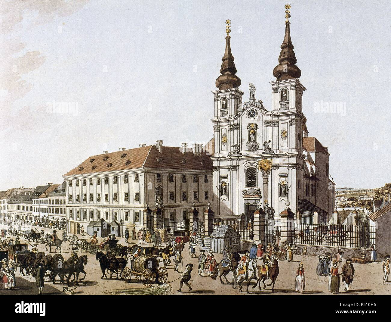 History of Austria. Vienna. Upper Market near the Mariensaule. 1793. Colored engraving. - Stock Image