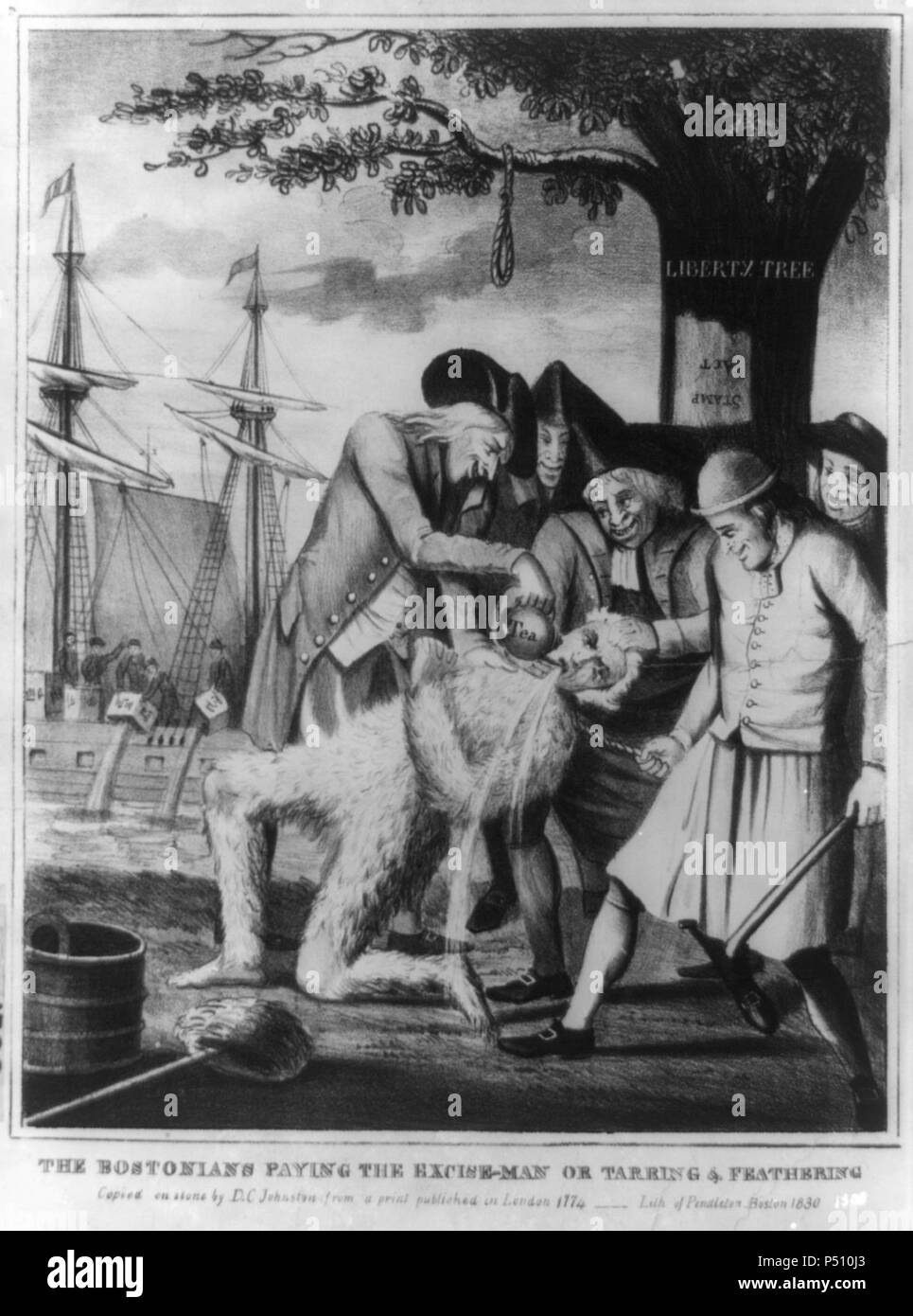 1774 Bostons Paying TheExciseMan byDCJohnston1830 LibraryOfCongress. - Stock Image