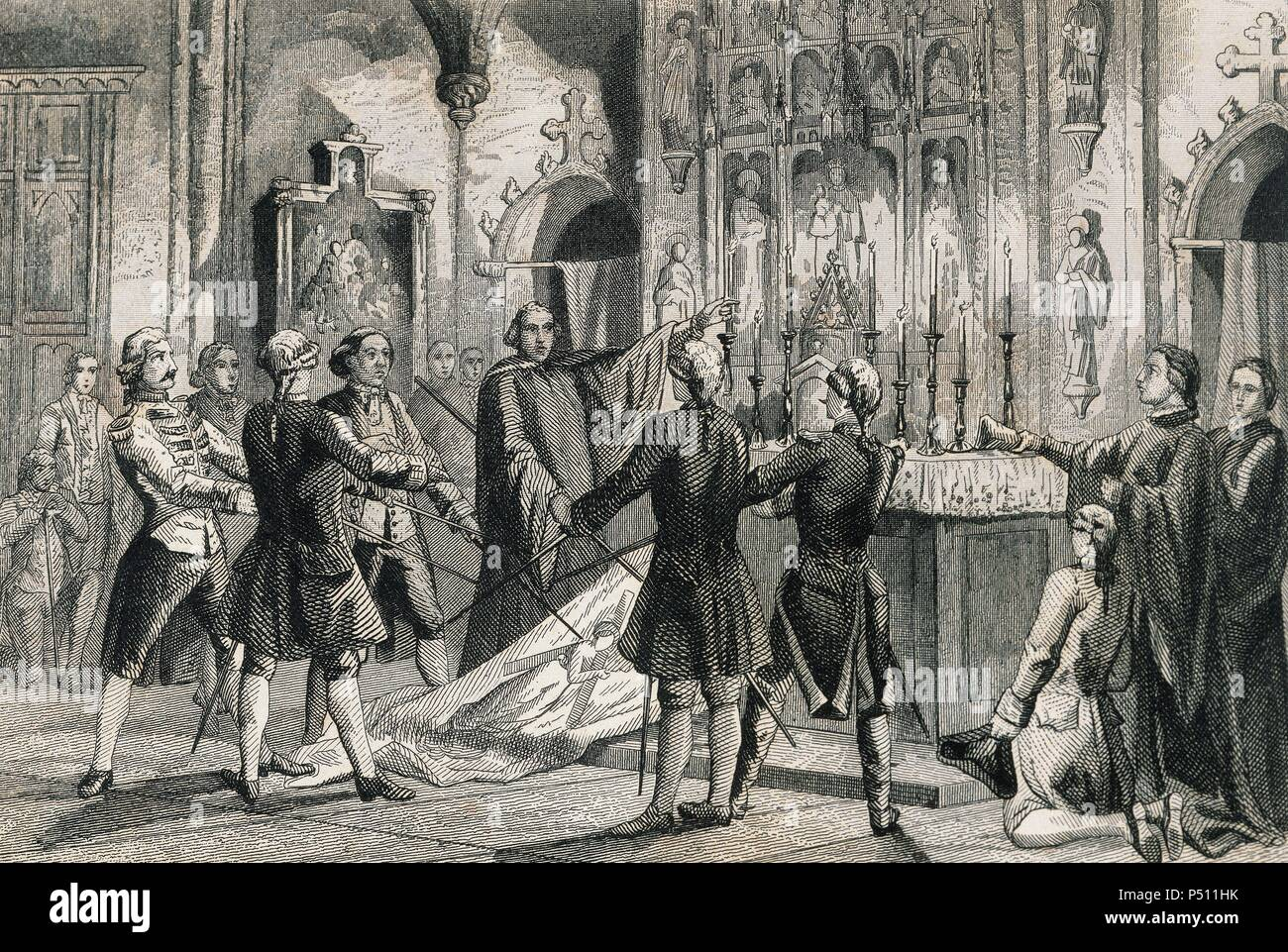 War of Spanish Succession (1702-1715). Oath of the captains of Barcelona who commands the troops of Antonio de Villarroel, Commander in Chief of the Army of Catalonia. Engraving by Urbadieta and J. Nicolau. 19th century. Stock Photo