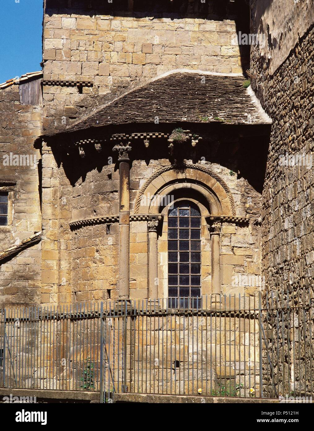 Saint Peter's Cathedral. Romanesque temple built during the kingdom of Ramiro I (1035-1063), king of Aragon. XI century. Outside view. South apse. Jaca. Aragon. Spain. - Stock Image