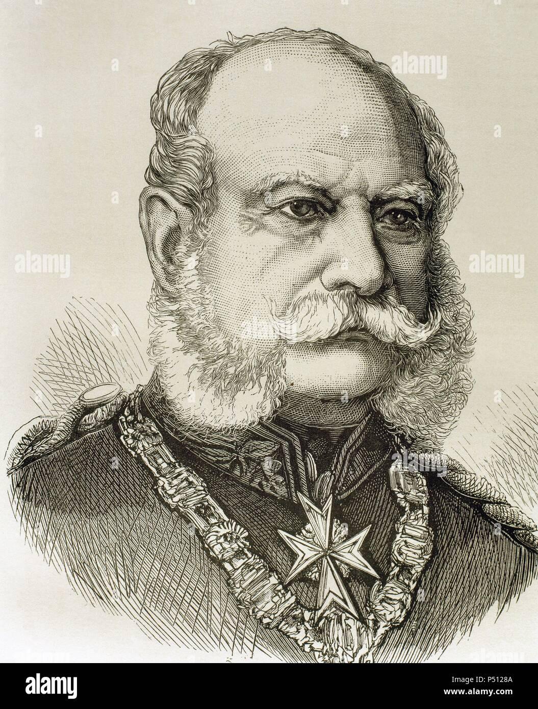 GUILLERMO I (1797-1888). Rey de Prusia (1861-1888) y Emperador de Alemania (1871-1888). Grabado de 'Historia Universal' (1881) . - Stock Image