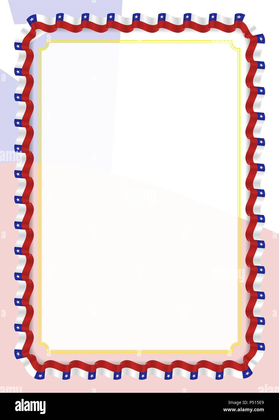 Frame and border of ribbon with Chile flag, template elements for ...