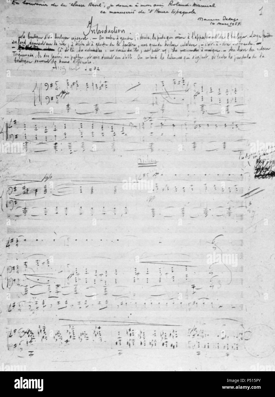 Score for Ravel's 'L'heure Espagnole'. - Stock Image
