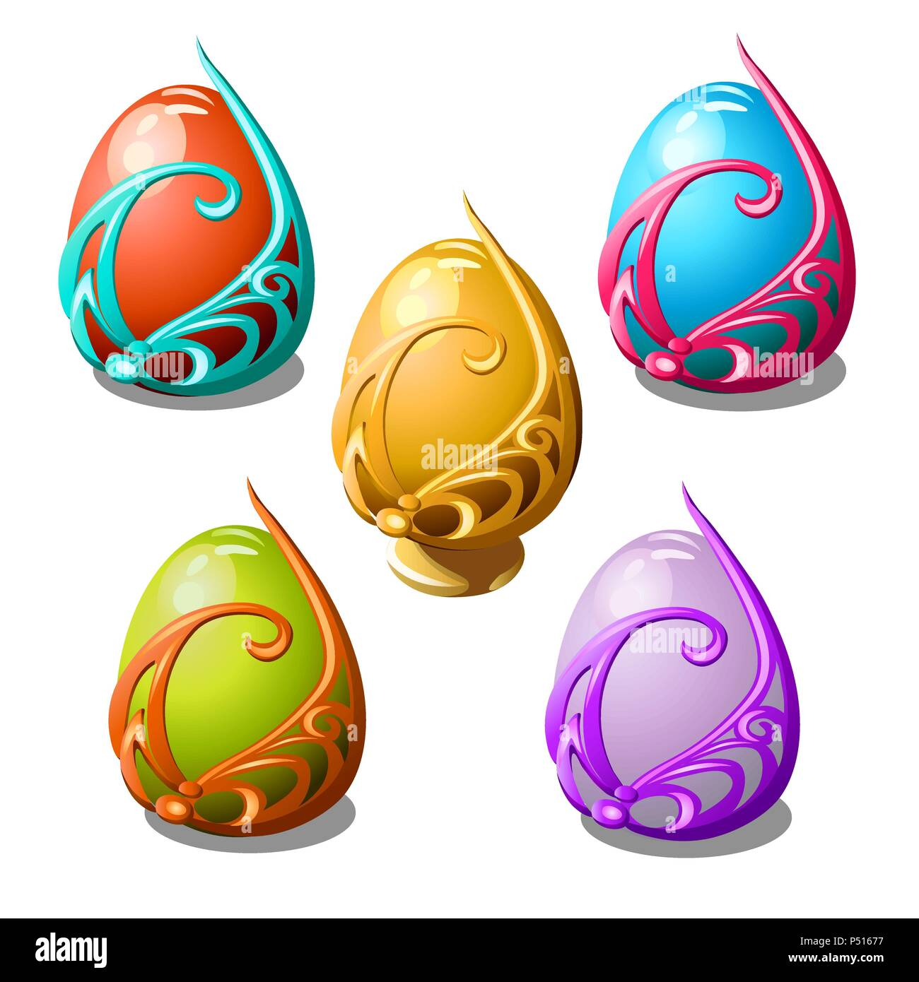 Set of glossy Easter eggs in ornate frame isolated on white background. Vector cartoon close-up illustration. - Stock Vector