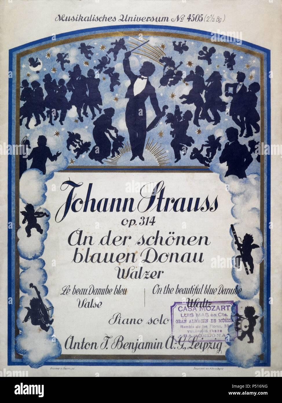 Portada Del Vals Al Bello Danubio Azul De 1867 Del Compositor Austríaco Johann Strauss Hijo Viena 1825 1899 Stock Photo Alamy