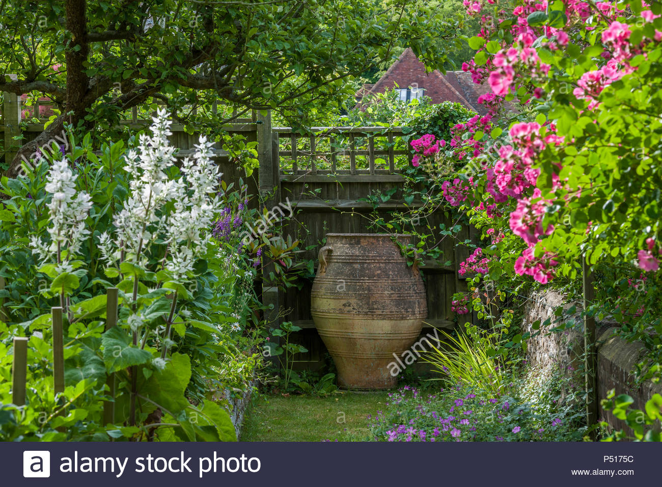 Antique pot as focal point - Stock Image