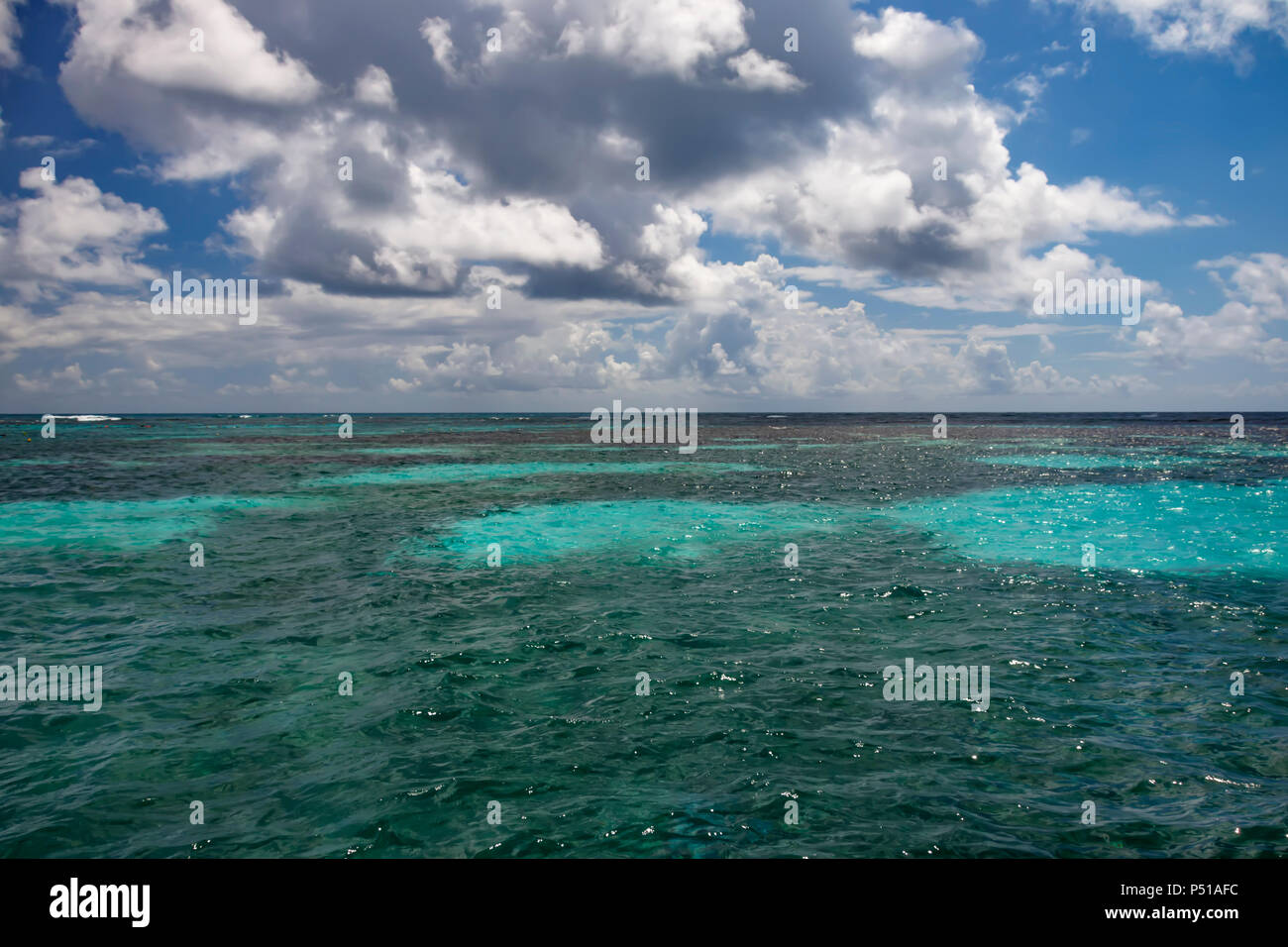 Turquoise water of the Caribbean Seay - Stock Image