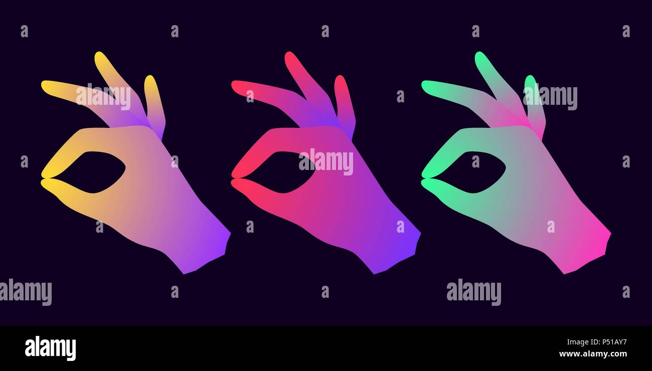 Silhouette of Hand with Gradients. Vector illustration of Digital Hand Projection with gesture of Okay - Stock Vector