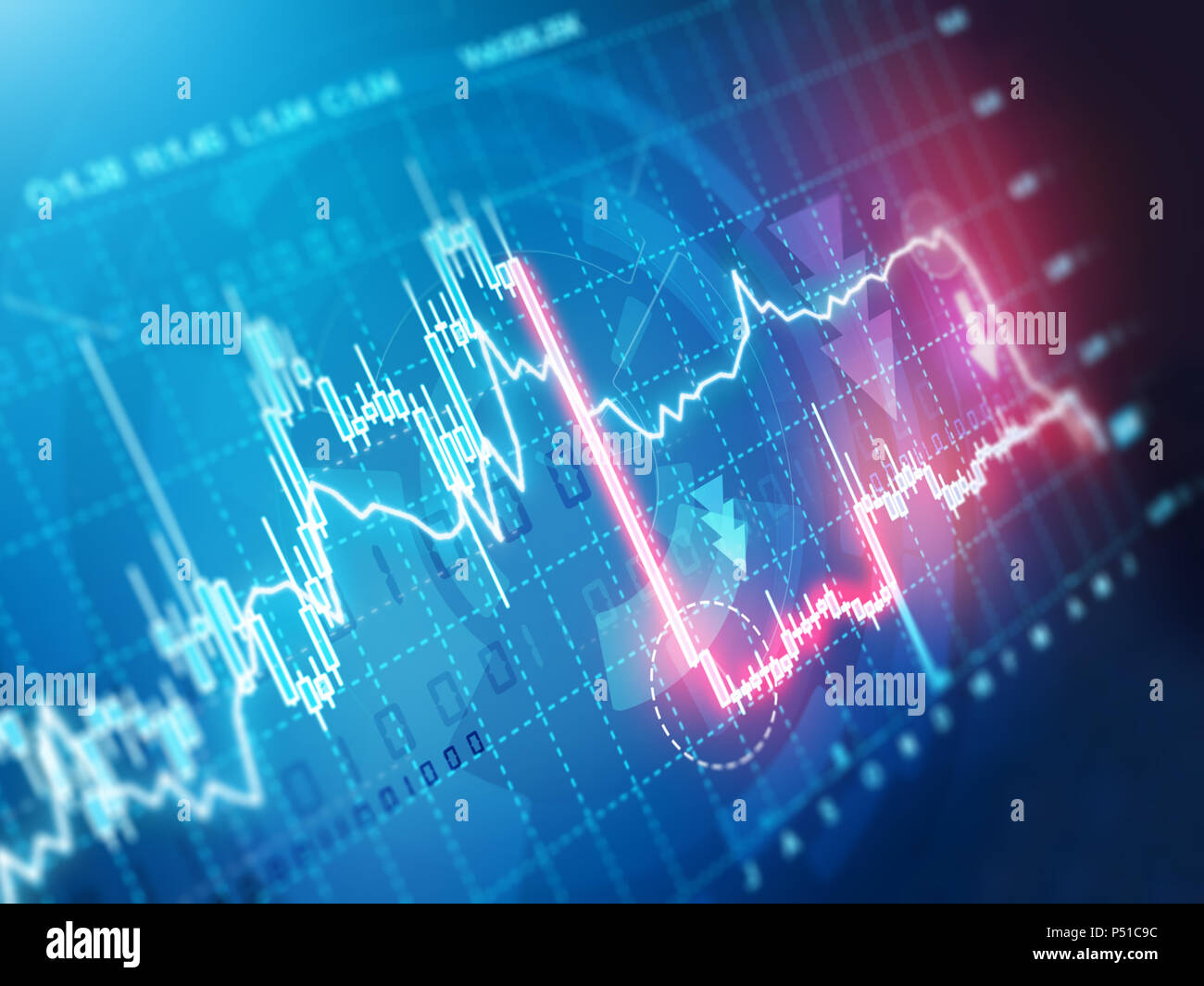 sudden stock market crash chart - Stock Image