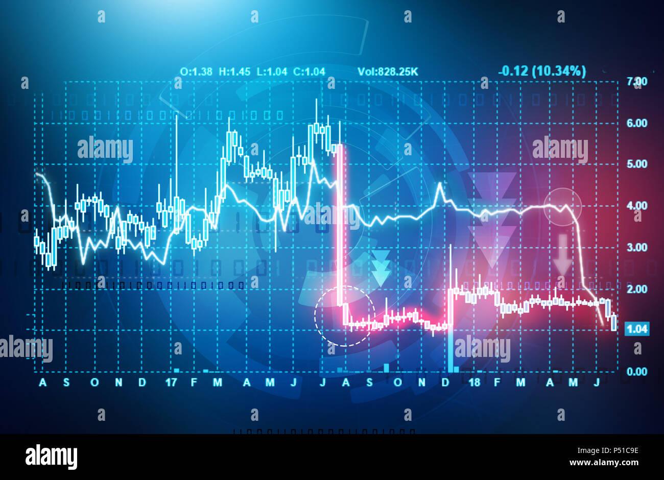 stock market down. declining stock market chart - Stock Image