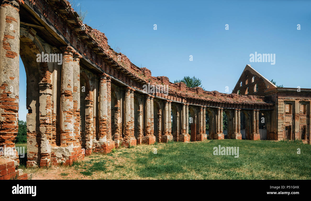 Ruins of Medieval Ruzhany Palace Complex. Landmark of Belarus with elements of late Baroque and Classicism - Stock Image