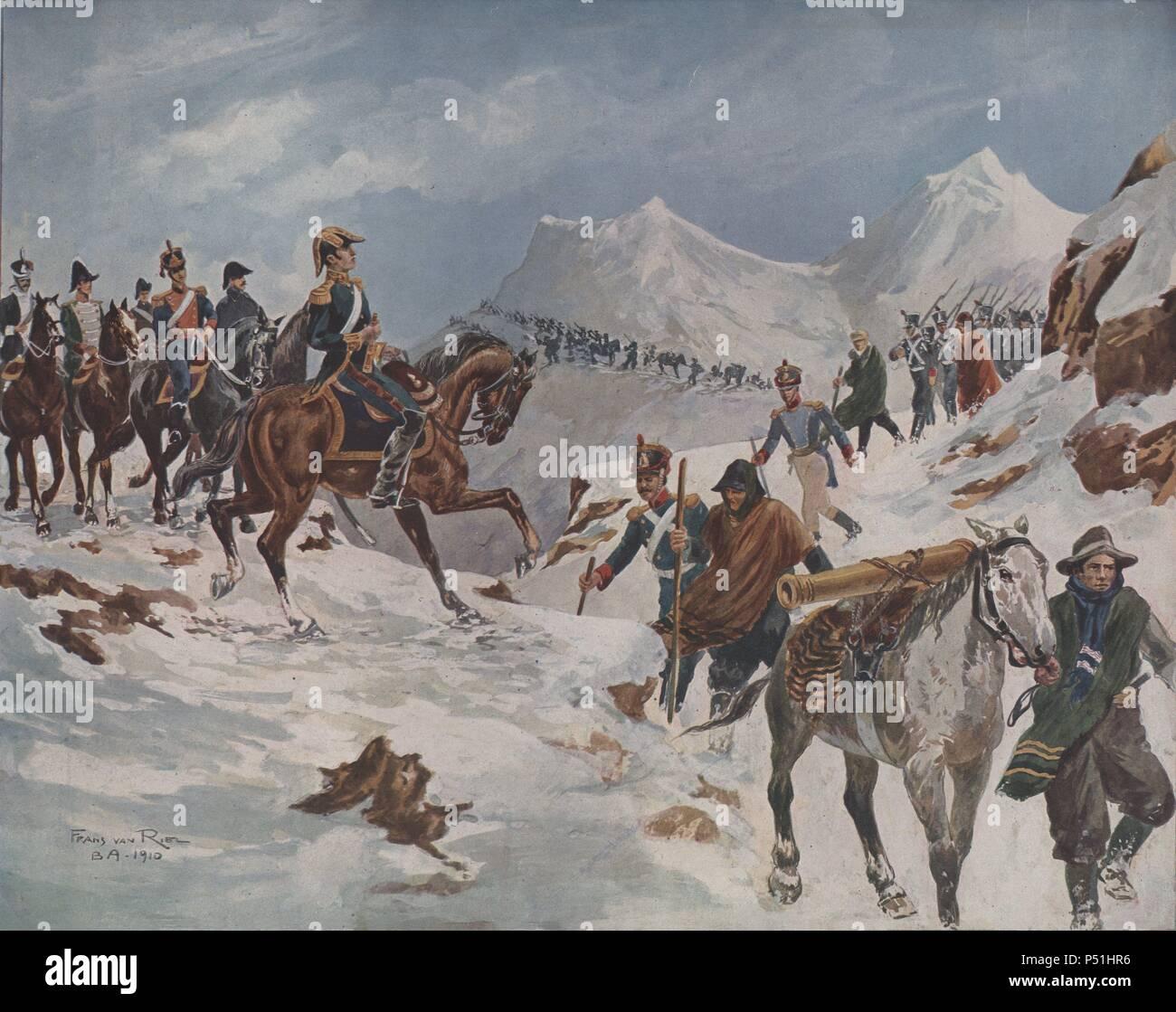 Argentina. El general San Martín pasando los Andes con el cuerpo expedicionario de 4.000 hombres, 17 de enero de 1817. Dibujo de Franz van Riel, Buenos Aires, 1910. - Stock Image