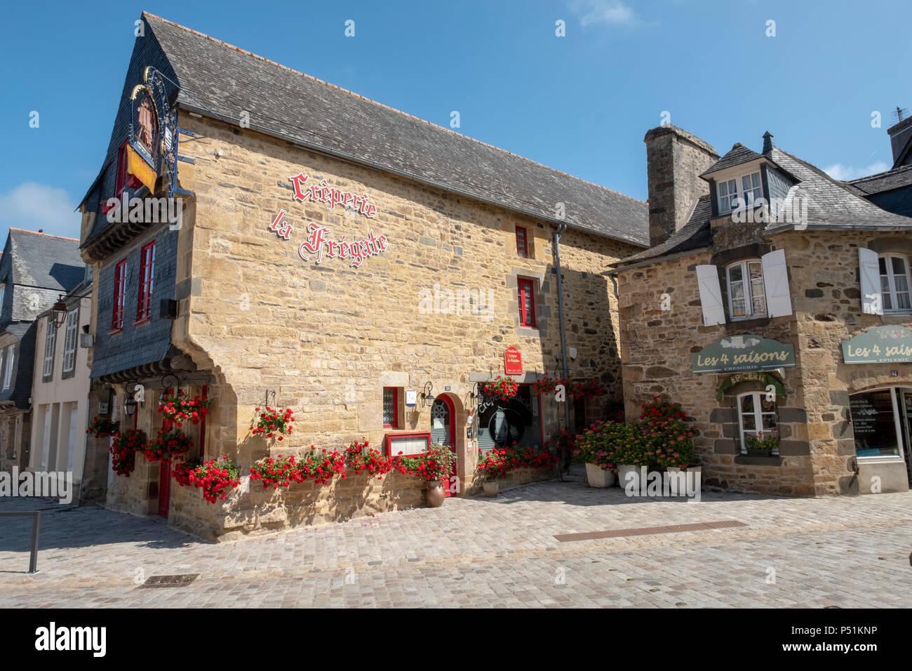 La Frigate Creperie restaurant in La Faou, Brittany France - Stock Image