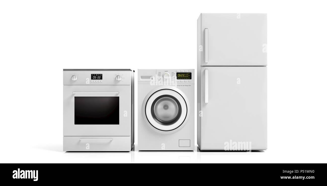 White home appliances set isolated on white background. 3d illustration - Stock Image