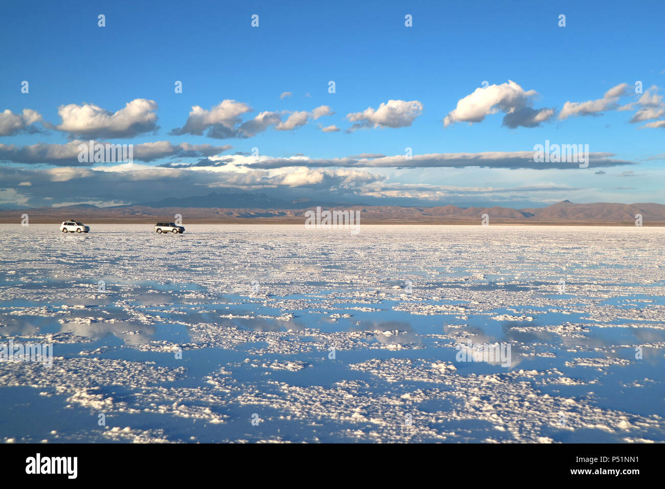 Uyuni Salts Flats or Salar de Uyuni on the end of rainy season, Bolivia, South America - Stock Image