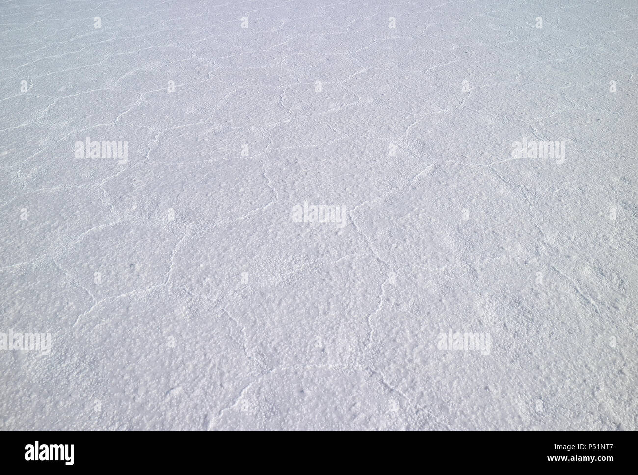 The unique pattern of the surface of Salar de Uyuni Salt Flats, UNESCO World Heritage site in Bolivia, South America - Stock Image