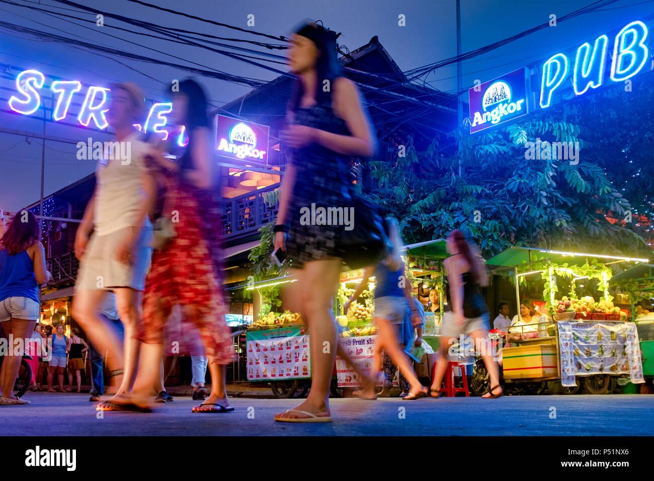 Tourists in Pub street, Siem Reap, Cambodia Stock Photo