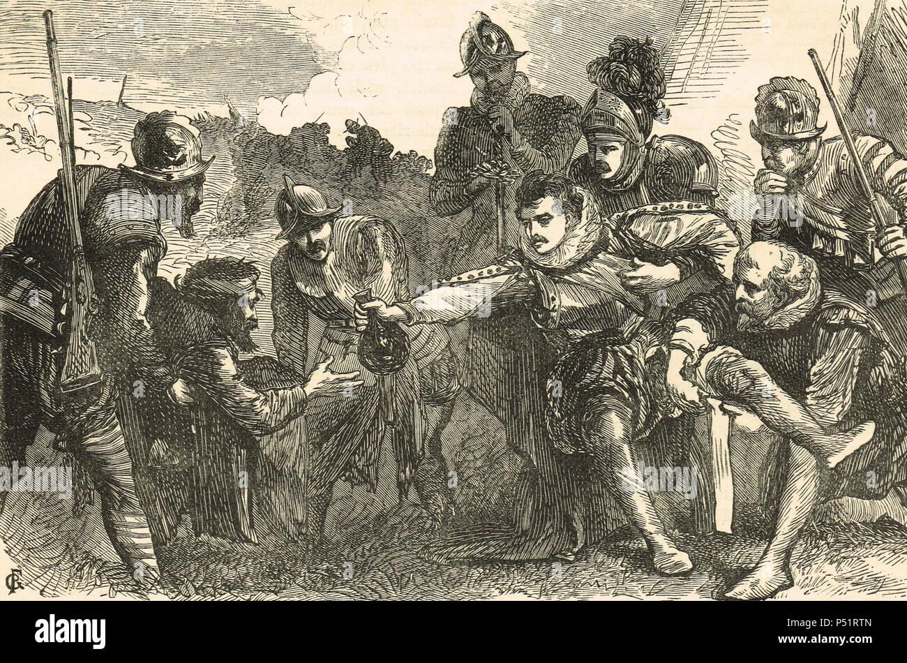 Death of Sir Philip Sidney, battle of Zutphen, 22 September 1586 - Stock Image