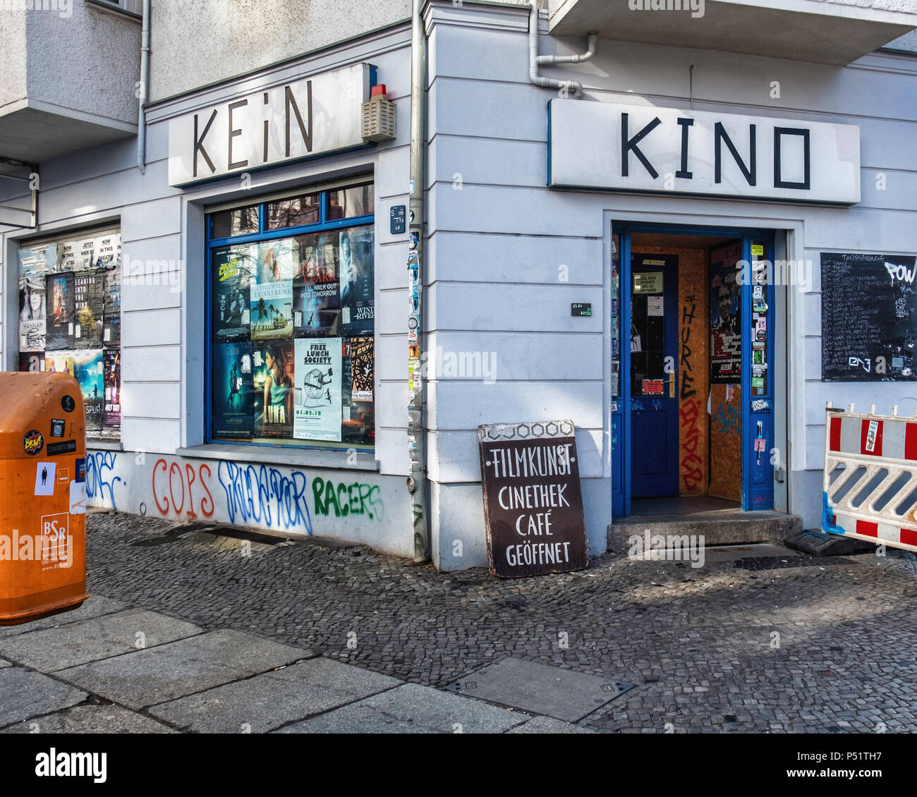 Berlin, Friedrichshain. B-ware Laden Kino, Corner cinema and video libary exterior  Sign outside says, Das ist kein Kino – this is not a cinema. The i - Stock Image