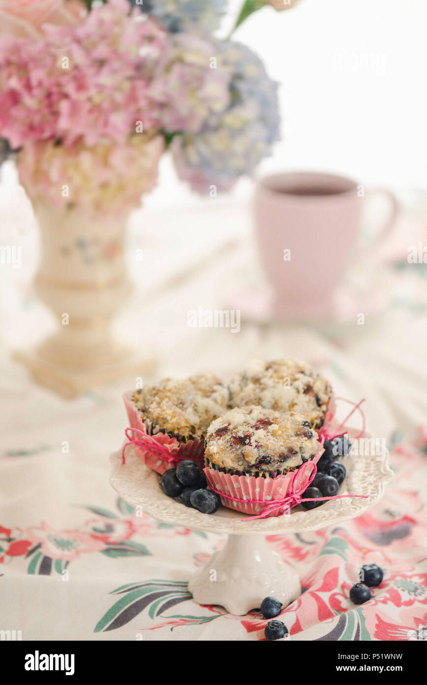 Blueberry muffins on a white pedestal server. - Stock Image