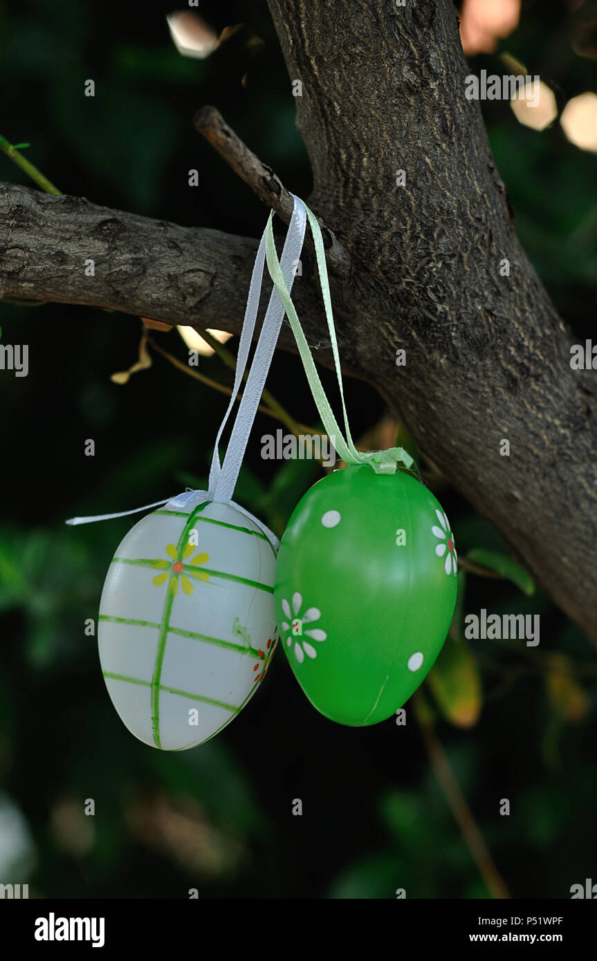 Colorful Easter Egg Decorations Hanging In A Tree Stock