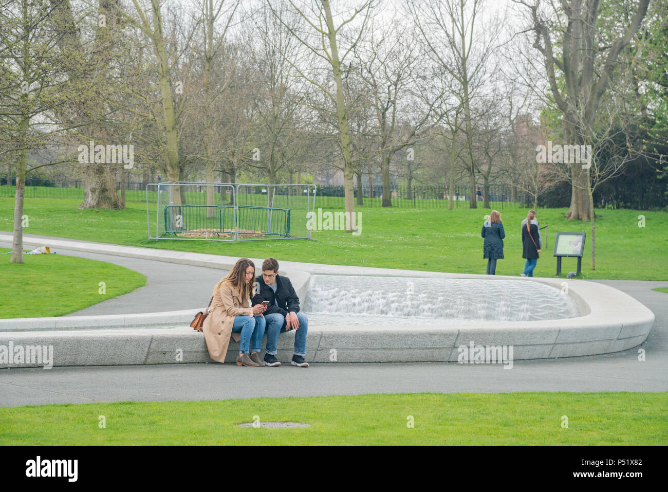 London, APR 15: Princess Diana Memorial Fountain in Hyde Park on APR 15, 2018 at London, United Kingdom - Stock Image