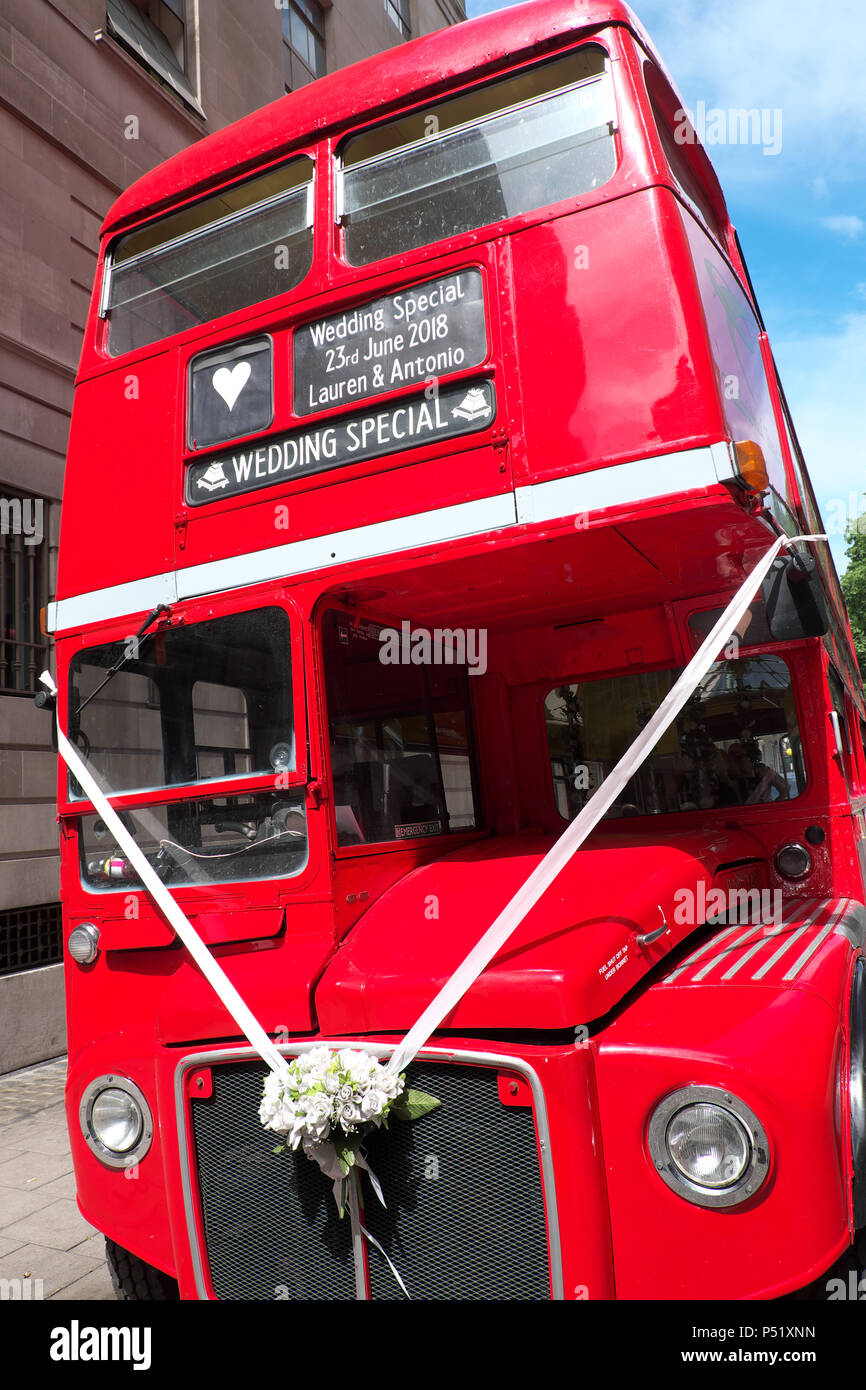 London Routemaster double decker bus being used for a Wedding - Stock Image