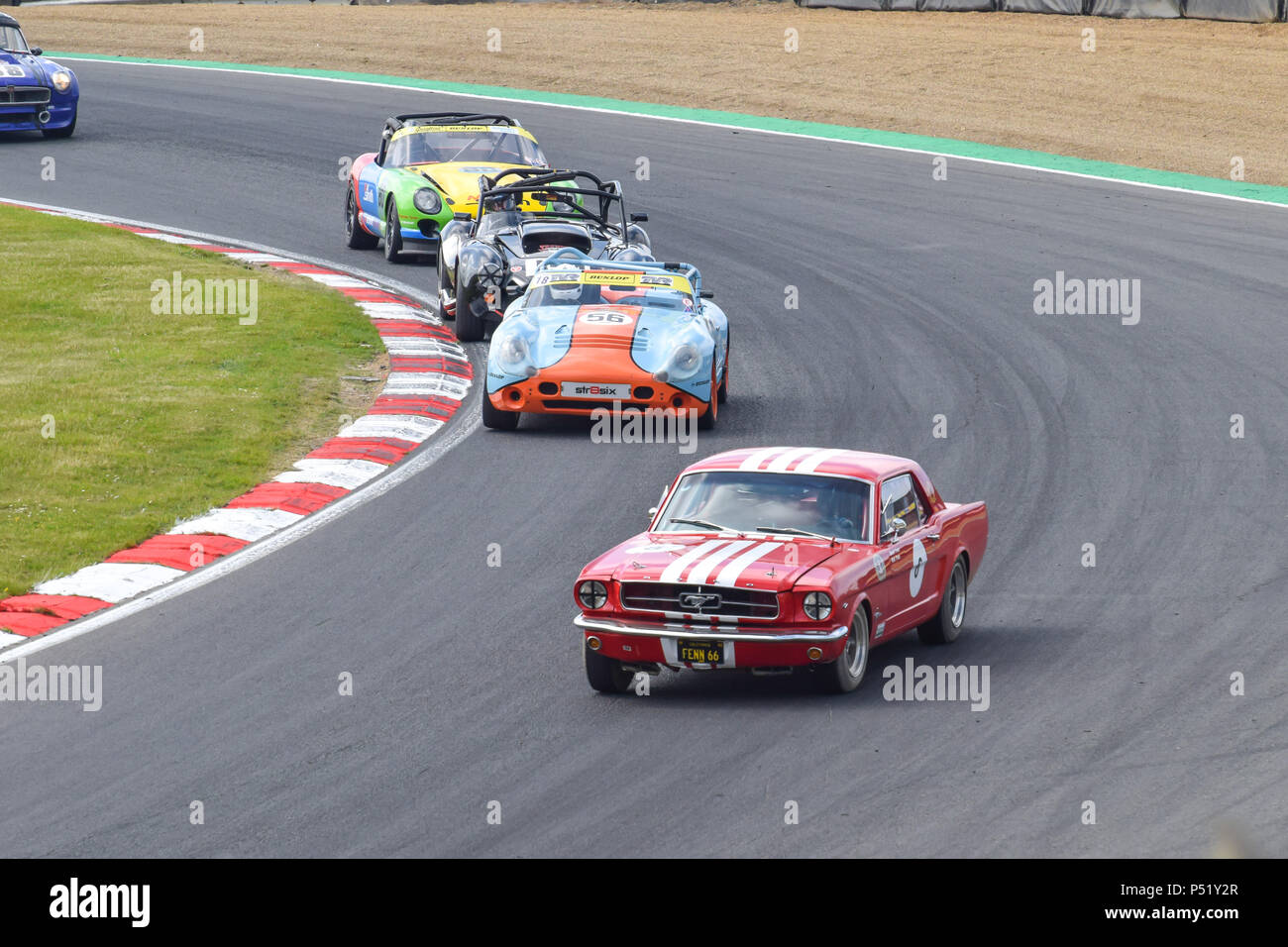 Classic Ford Mustang around Brands Hatch - Stock Image