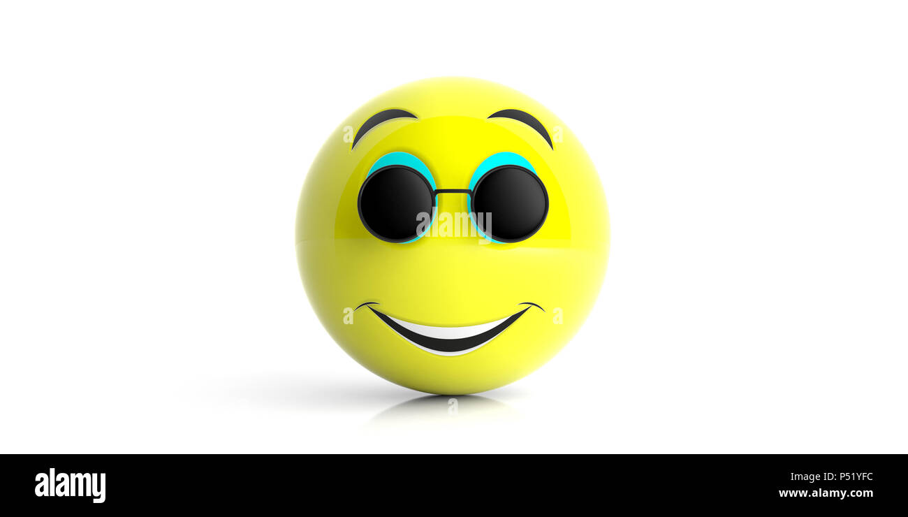 f5d2e3e248d Emoji yellow with black round sunglasses smiling isolated on a white  background