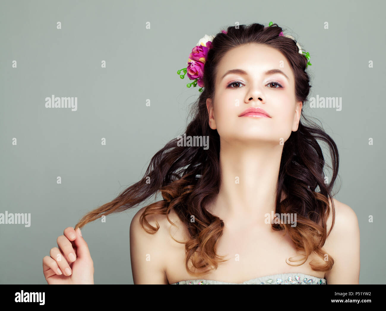 Young Woman With Flowers In Hair Portrait Cute Prom Girl With