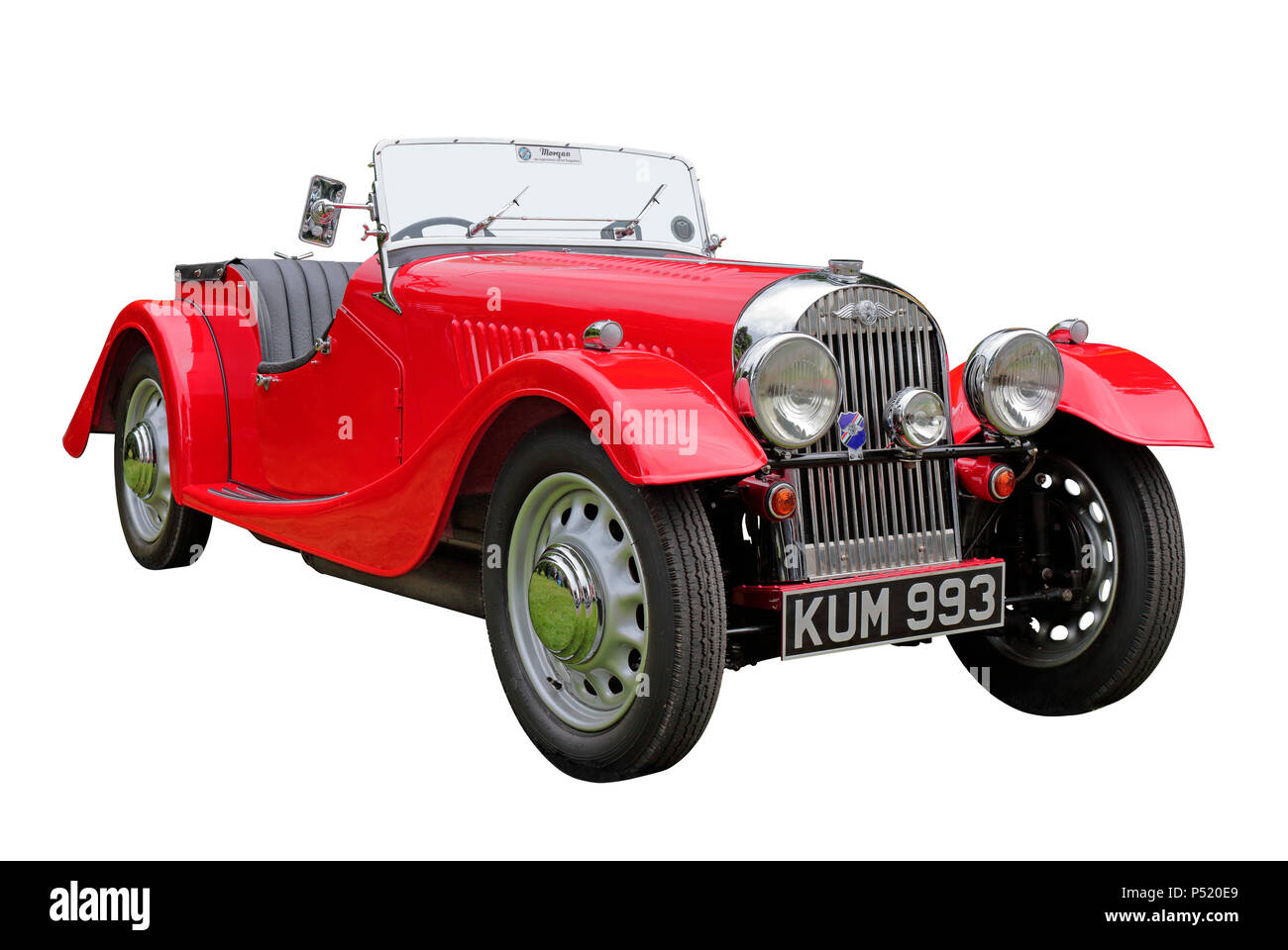 1947 Morgan Flad Rad 4/4 2 Seater Sports Car isolated on a white background - Stock Image