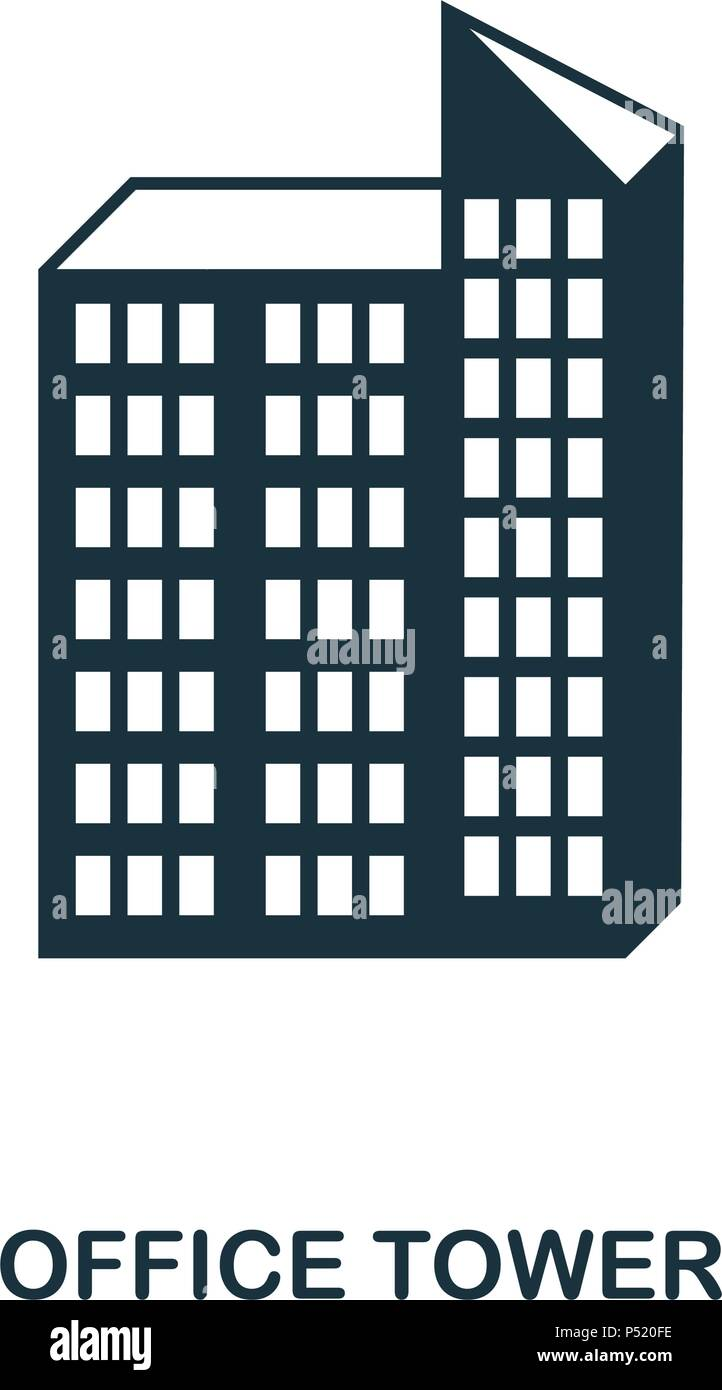 Office Tower icon. Line style icon design. UI. Illustration of office tower icon. Pictogram isolated on white. Ready to use in web design, apps, software, print. - Stock Vector