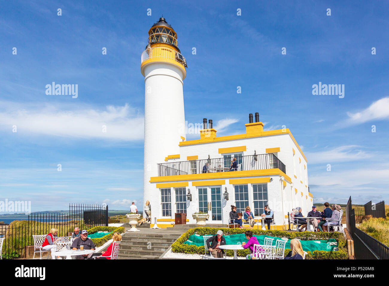 Restyled and renovated Turnberry lighthouse, part of Trump Turnberry Hotel and Golf complex, now used as a cafe and halfway house for the Ailsa course - Stock Image
