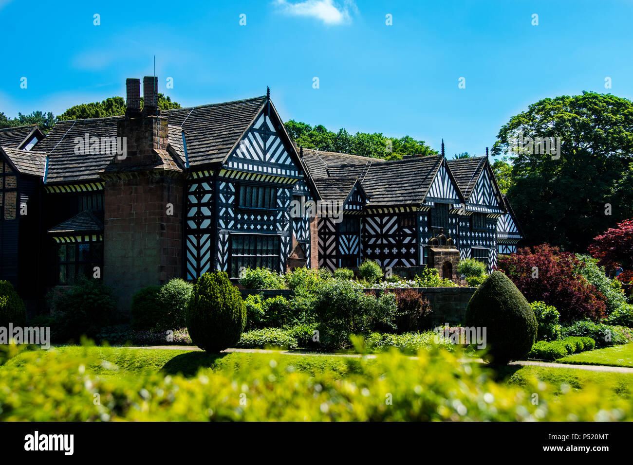 Speke Hall is a wood-framed wattle-and-daub Tudor manor house in Speke, Liverpool, England. It is one of the finest surviving examples of its kind. - Stock Image