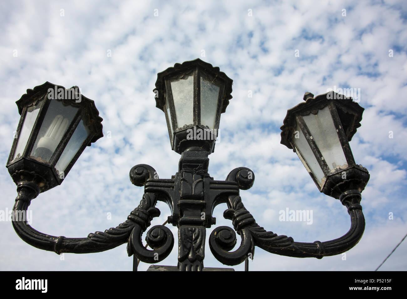 Lamp post in Lefkimmi, Greece - Stock Image