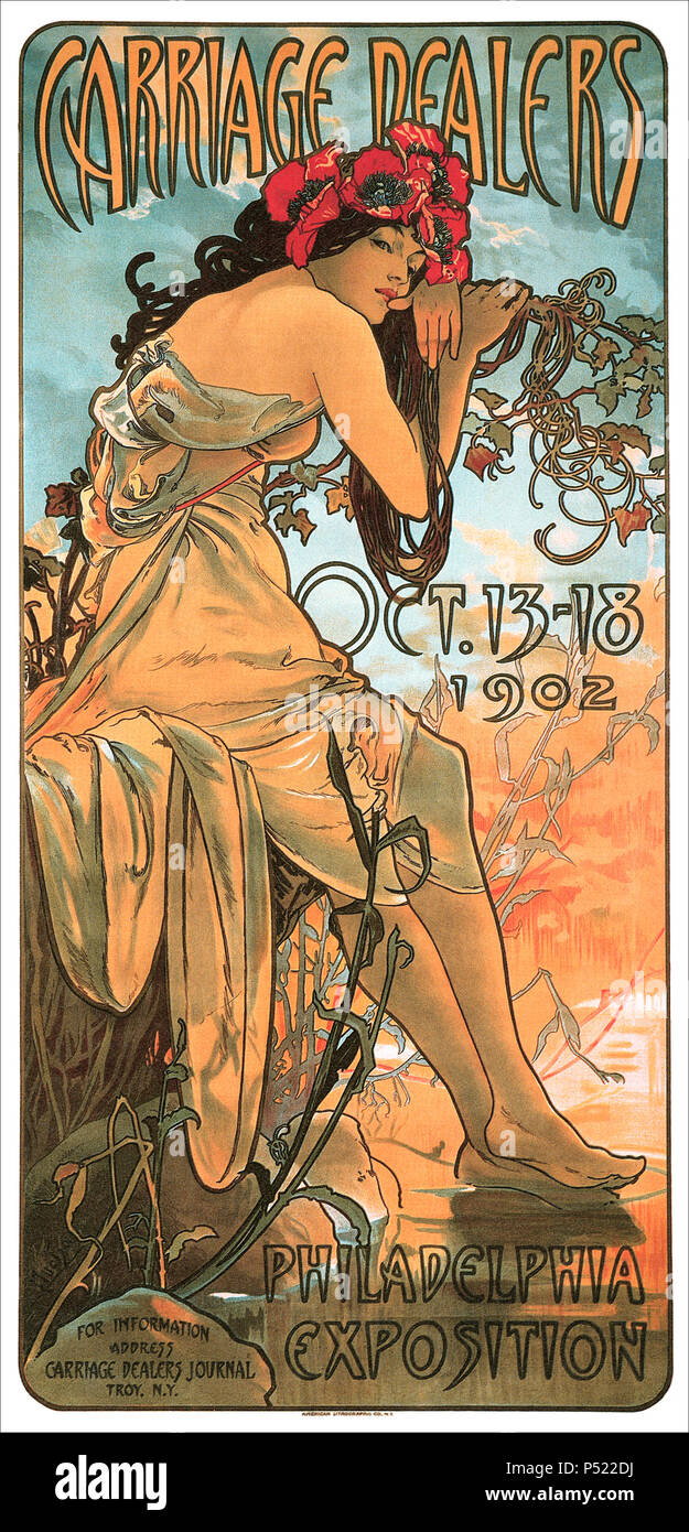 1902 advertising poster by Alphonse Mucha for the Carriage Dealers Philadelphia Exposition. - Stock Image