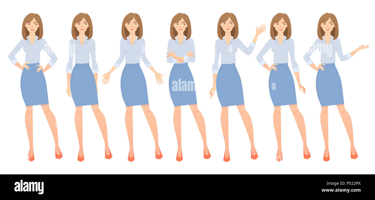 Business woman set. Set of female gestures and postures illustration. - Stock Image