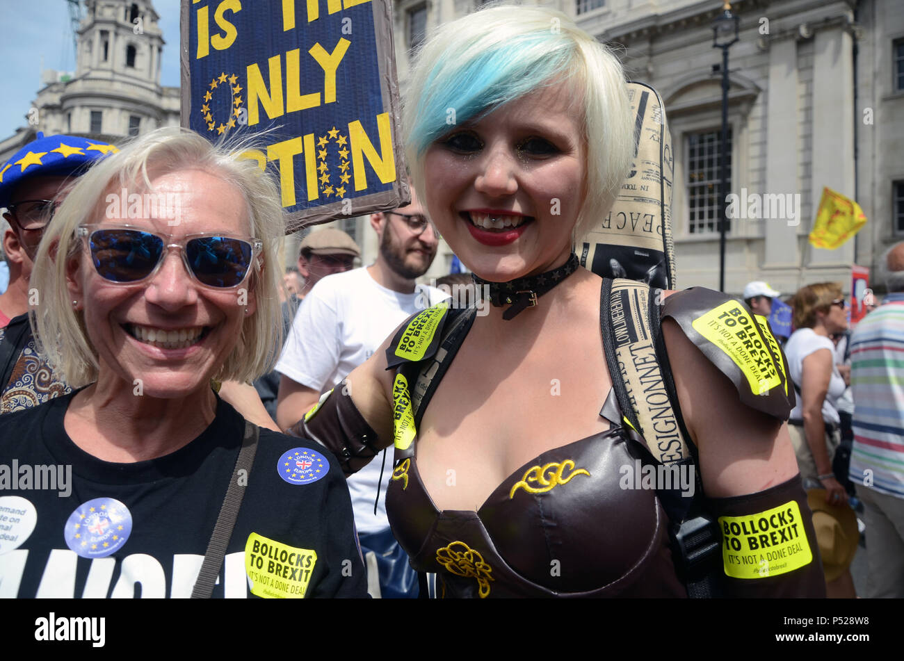 London, UK. 23rd June, 2018. Madeleina Kay EU Supergirl at People's Vote March in Parliament Square London Credit: Nadia Awad/Alamy Live News - Stock Image