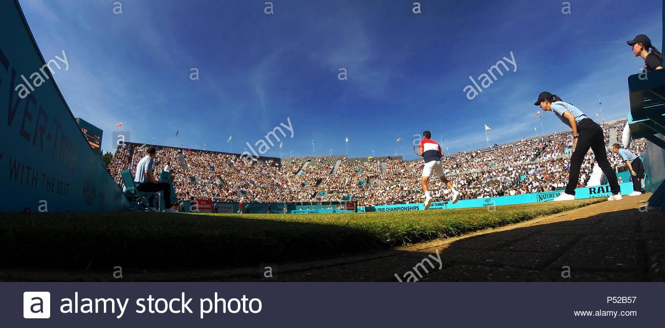 London, UK. 24 June 2018. Fever-Tree Championships Queens Club London UK FINAL: Marin Cilic CRO v Novak Djokovic SRB Credit: Leo Mason sports photos/Alamy Live News - Stock Image