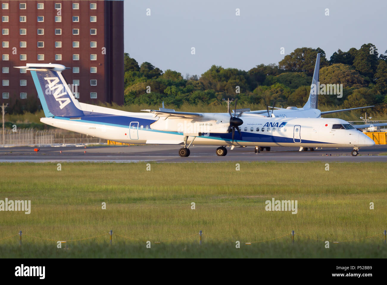 Tokyo, Japan. 5th May, 2017. All Nippon Airways ANA Wings Bombardier Dash 8-400 lining up at Tokyo Narita airport, Credit: Fabrizio Gandolfo/SOPA Images/ZUMA Wire/Alamy Live News - Stock Image