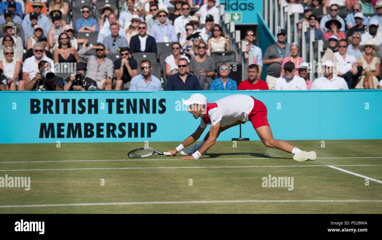 The Queen's Club, London, UK. 24 June, 2018. Fever Tree Championships Day 7 final match on centre court. Top seed Marin Cilic (CRO) wins the championship after beating 12 times grand slam champion Novak Djokovic (SRB) 5-7, 7-6, 6-3. Credit: Malcolm Park/Alamy Live News. - Stock Image