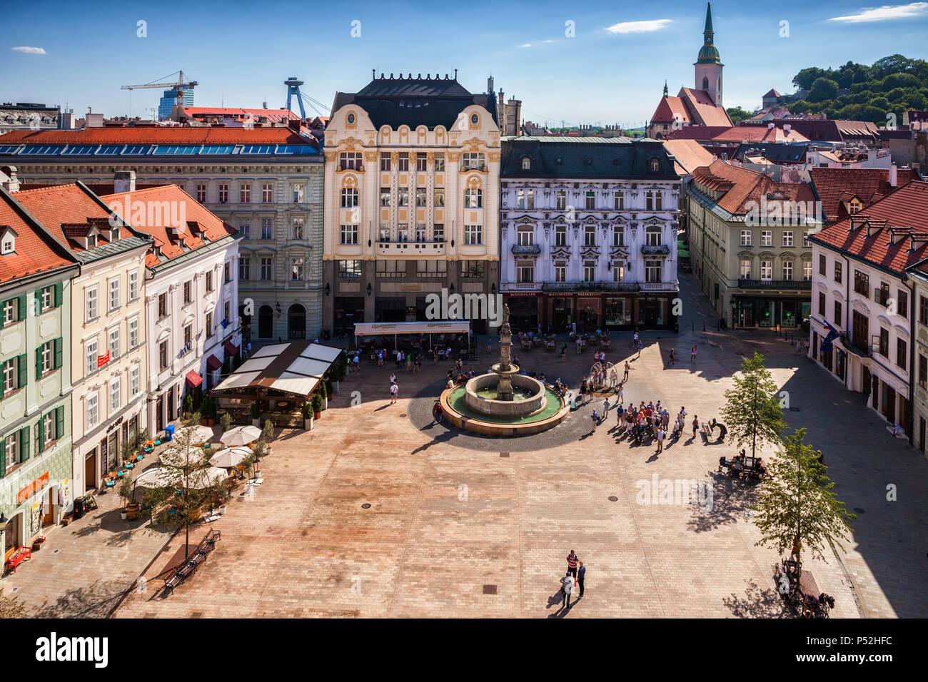 City of Bratislava Old Town Main Market Square (Hlavne namestie) in Slovakia - Stock Image