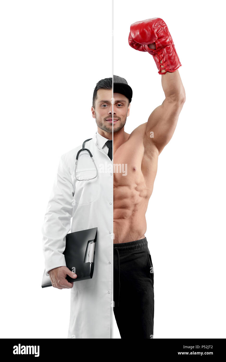 Comparison of doctor and boxer's outlook. Boxer wearing red boxer gloves ,sport trousers, a cap. Doctor wearing white medical gown, having tonometer, keeping disease history. - Stock Image
