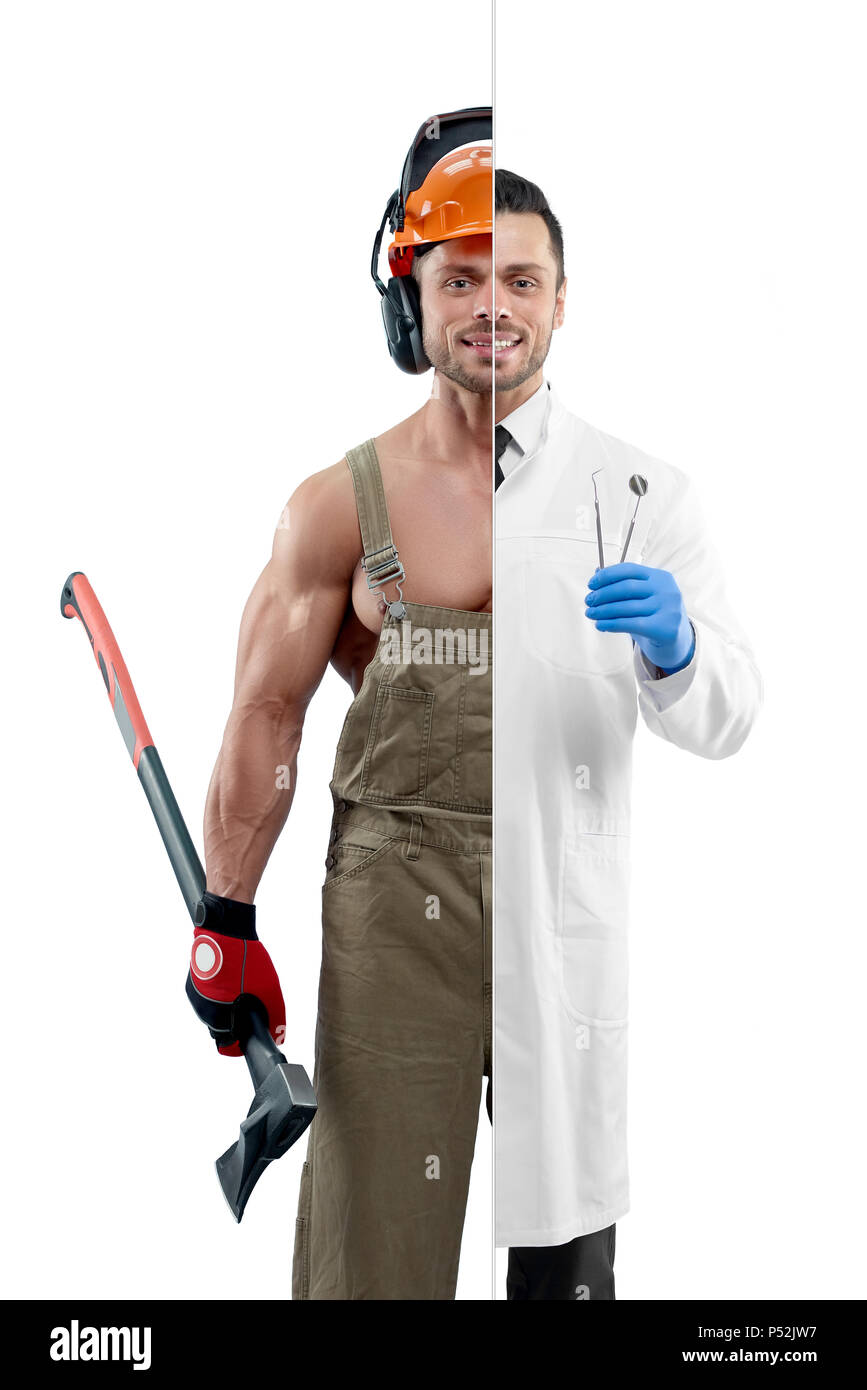 Comparison of dentist and woodcutter's outlook. Woodcutter wearing uniform, protective helmet and keeping an axe. Dentist wearing white medical gown, blue gloves, having dental equipment. - Stock Image