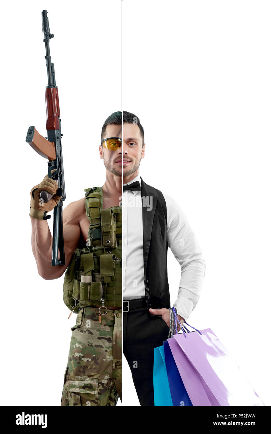 Photo comparison of military man and concierge's outlook. Attractive concierge wearing white shirt, classic suit, keeping bags. Soldier wearing military uniform, having Kalashnikov automatic machine. - Stock Image