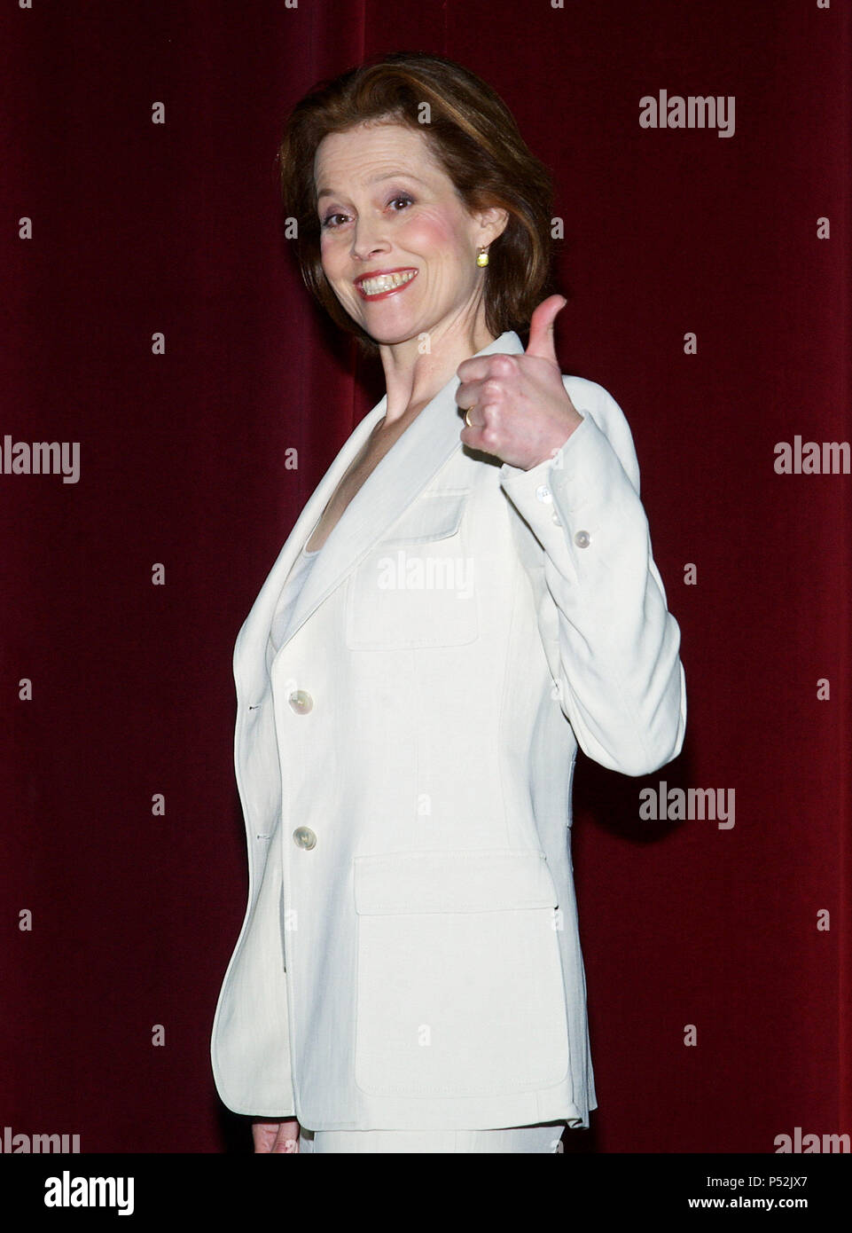 Sigourney Weaver presenting the 76th Academy Awards Nominees at the Academy of Motion Pictures and Sciences in Los Angeles. January, 27, 2004.WeaverSigourney001 Red Carpet Event, Vertical, USA, Film Industry, Celebrities,  Photography, Bestof, Arts Culture and Entertainment, Topix Celebrities fashion /  Vertical, Best of, Event in Hollywood Life - California,  Red Carpet and backstage, USA, Film Industry, Celebrities,  movie celebrities, TV celebrities, Music celebrities, Photography, Bestof, Arts Culture and Entertainment,  Topix, vertical, one person,, from the years , 2003 to 2005, inquiry  - Stock Image