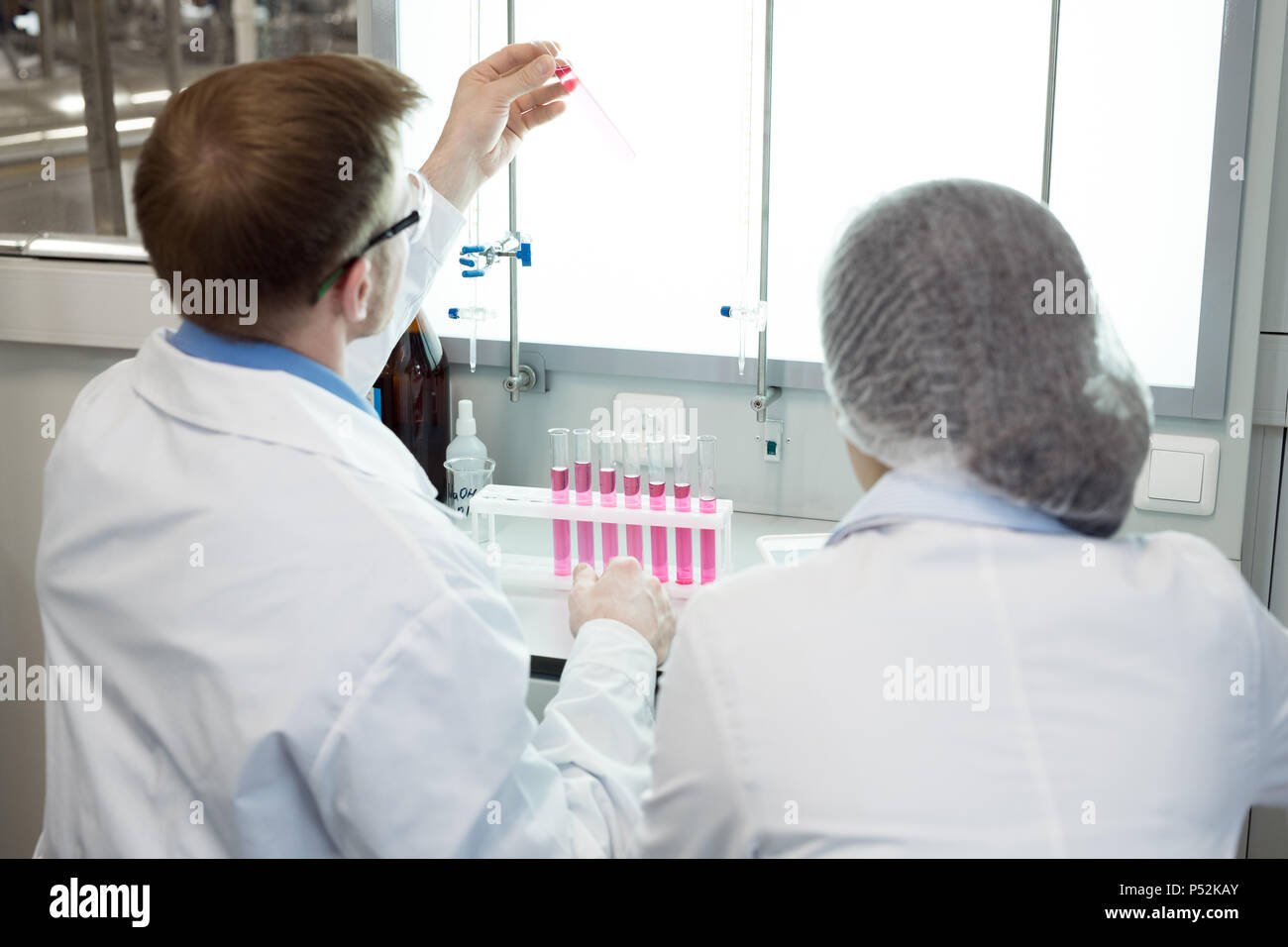 Microbiologists studying pink solution in test tube - Stock Image