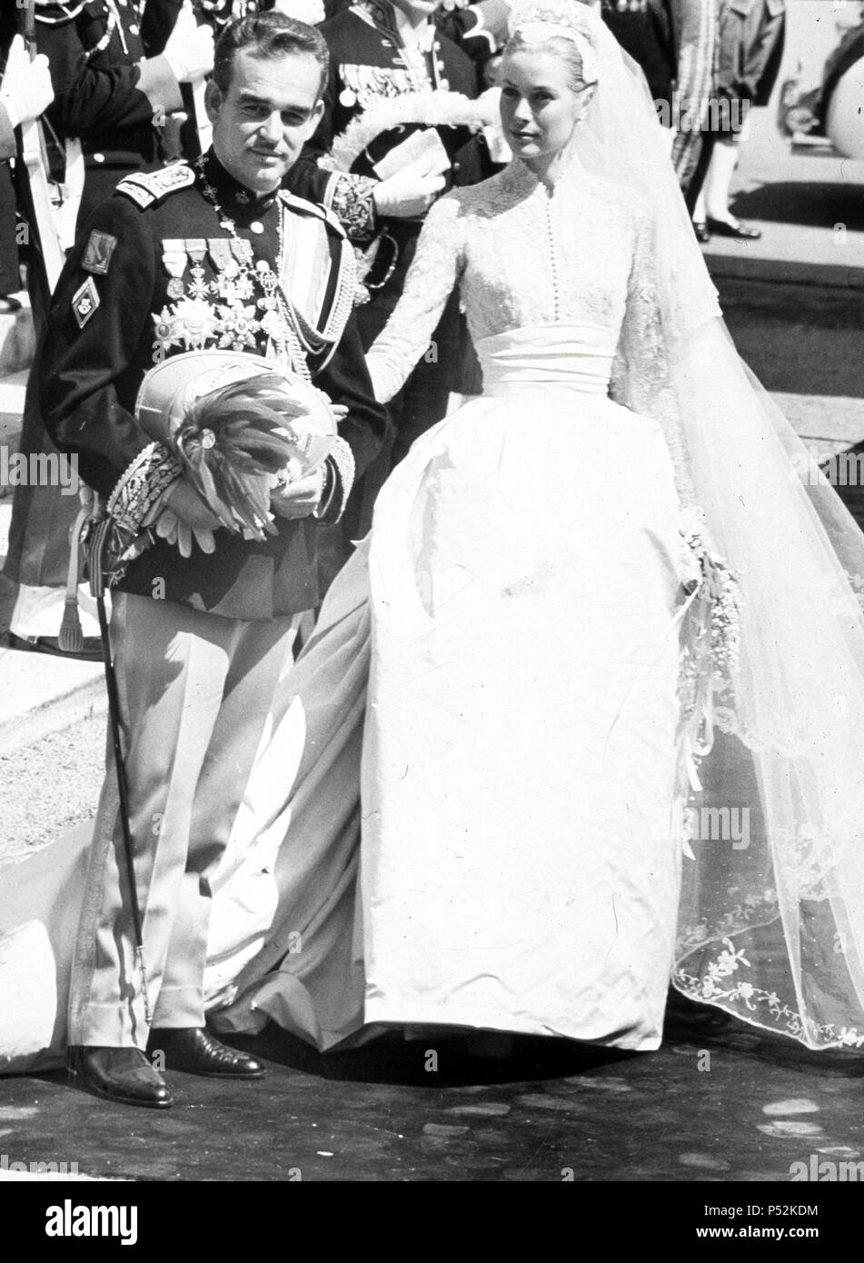 Prince Rainier and her Serene Highness Princess Gracia of Monaco after the wedding services. - Stock Image